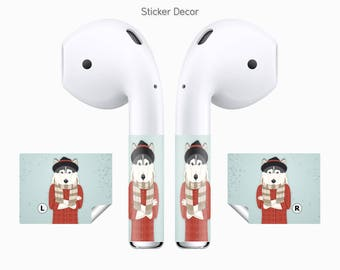 AirPods Stickers Hipster Doggy, Fashion Dog, Husky, 2-Sets, Wraps, Skin, Cover, Decal