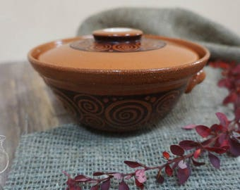 "Pot ""Greek""/Pots for baking/Storage/Ceramic pot/Red clay/Glaze/Household goods/Handmade products/Red pot/Pottery/Handicrafts"