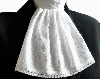 White Lace Jabot Cravat Collar Steampunk Victorian Fancy Dress Theatre Regency Pirate Burlesque Re-Enactment pk9
