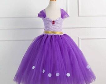 Super fluffy bridesmaid flowergirl birthday fairy princess purple tulle dress
