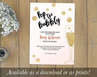 Pop the Bubbly Bridal Shower Invitation
