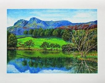 A4 Giclée Print entitled 'Loughrigg Tarn' from an original acrylic painting by artist Martin Romanovsky