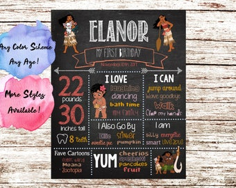 Moana Customized Chalkboard Birthday Poster Printable