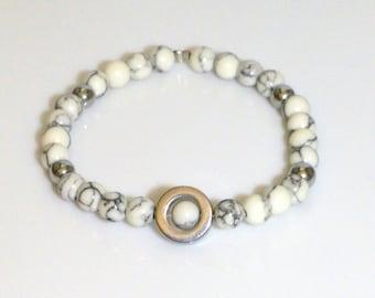 White bracelet, Beaded bracelet, Unisex bracelet, Bracelet gift, Bead bracelet, White jewelry, Jewelry gift, Unisex jewelry
