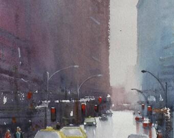 Manhattan, New York, Watercolour Painting