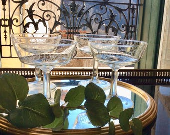 Set of 5 French vintage engraved champagne coupe glasses