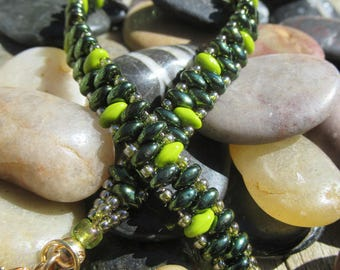 Bracelet Super Duo Beads Green Tea