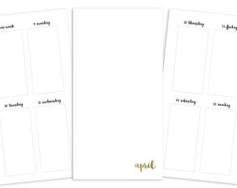 Standard April Weekly Printable Insert - TN - Plain Cover