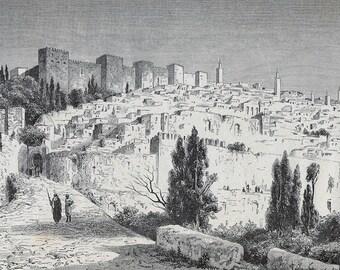 Panorama of Meknes, Morocco 1880 - Old Antique Vintage Engraving Art Print - Castle, City, Bridge, Wall, Minarat, Trees, Weapon, Gate, Urban