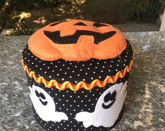 Felt covered box, decorated with ghosts and pumpkin for Halloween