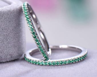2pcs Half eternity wedding band Wedding ring sets sterling silver with white/rose/yellow gold plated Green CZ Cubic Zircon 925 silver ring
