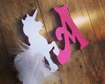 Tutu freestanding personalised glitter unicorn