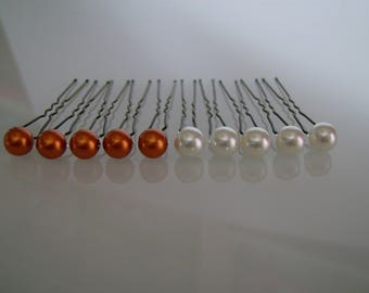 set of 10 pins/clips/pins/accessories hair bun p dress bridal/wedding/party / ceremony: Coktail ivory/Orange (cheap cheap)
