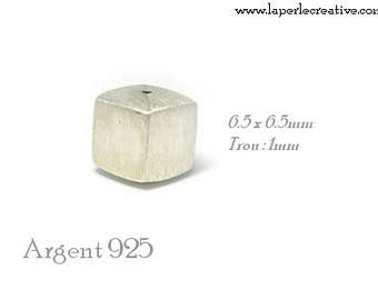 Square silver bead 925 sterling silver