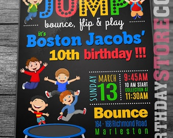 Trampoline Party Invitation, Jump Birthday Invitation, Jump Invitation, Trampoline birthday invitation, Bounce Party