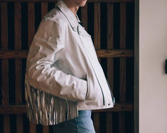 vintage 1980s white leather coat with tassels - made in canada - size L/ XL