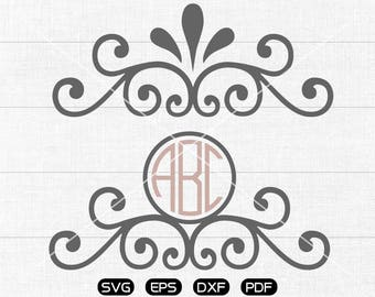 Flower svg Files, Flower Monogram, Garland Clipart, cricut, cameo, silhouette cut files commercial use