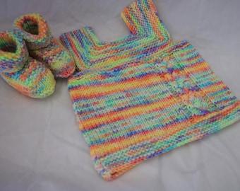 Rainbow Bright Vest and Bootie set