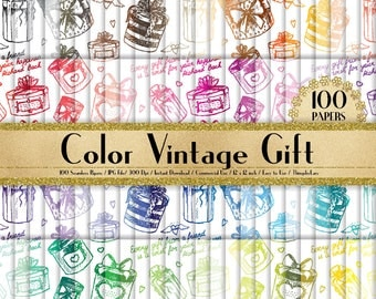 "100 Seamless Color Vintage Gift Box Papers in 12"" x 12"", 300 Dpi Planner Paper, Commercial Use, Scrapbook Paper, Vintage Gift Box Paper"