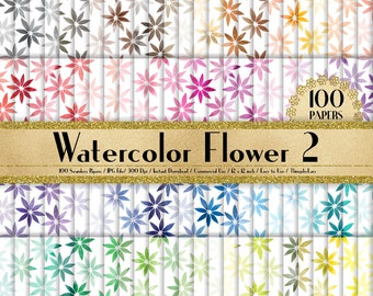 100 Watercolor Flower Papers 12 inch,300 Dpi Planner Paper,Commercial Use,Scrapbook Paper,Rainbow Paper,100 Floral Papers,Watercolor