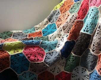 Crochet throw afghan blanket cotton