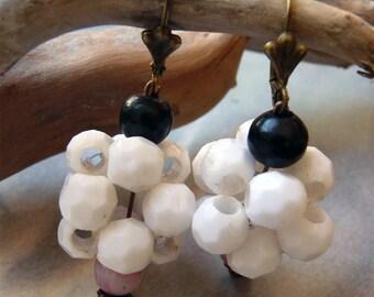 Earrings sleepers faceted balls