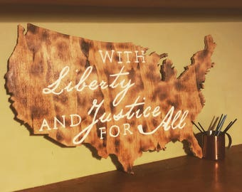 Liberty and Justice Wooden Wall Decor