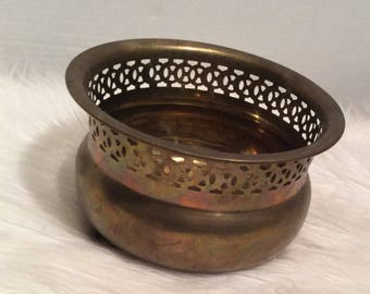 Small Brass Planter With Claw Feet
