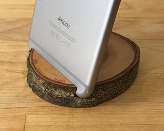 Wood Round iPhone Stand & Business Card Holder - iPhone 6, iPhone 6 Plus, iPhone 7, iPhone 7 Plus, iPhone 8, iPhone 8 Plus, iPhone X