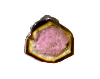 Tourmaline 1.35ct. 7x7 mm 100% Natural Bi-color Tourmaline Slice Beautiful Loose Gemstone - 3798