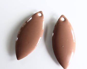 2 Navettes Marrons métal et résine époxy 23x10 mm - création bijoux