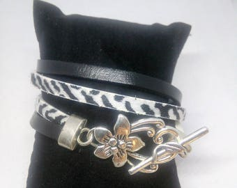 Leather strap and faux leather double row