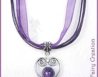 "Short silver necklace, satin and Amethyst ""Amethyst heart"""