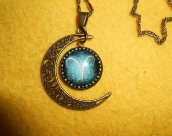 Cresent moon Aries zodiac necklace