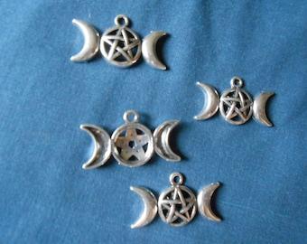 triple moon goddess charm with pentagram
