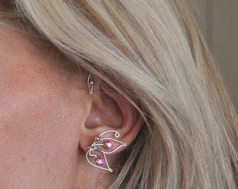 """These cuff - turn left ear """"Butterfly"""" plated copper wire in silver with light and elegant swarovski crystal"""
