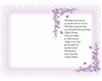 15 x Pretty floral ... flower.. with border themed  birthday verse insert  (pack of 15)