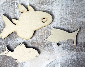set of fish 88 embellishment wooden creations