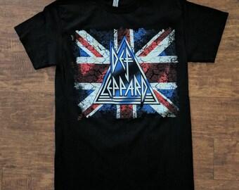 Def Leppard British Flag Design Tshirt
