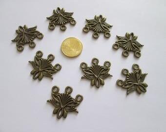 8 connecteur baroque en métal couleur bonze 26 X 26 mm