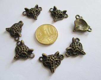 lot de 7 connecteur renard en métal couleur bronze 21 X 16 mm