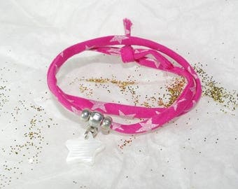 Child bracelet Kit cord fuchsia and star mother of Pearl