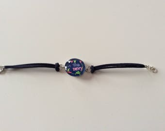 """Bracelet """"in the Navy"""" round glass cabochon"""