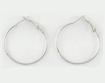 6 supports earrings creole sbo020 silver metal