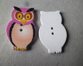 x 6 wooden buttons/OWL pink, salmon with 2 holes 3.2 x 2 cm
