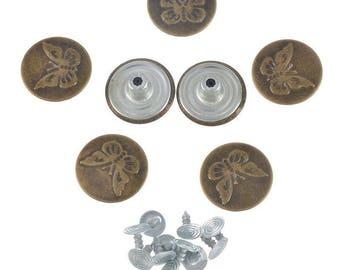 "x 5 round rivet buttons ""JEANS"" flower color bronze 20 mm"