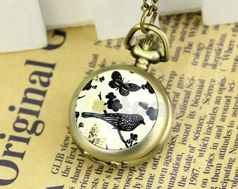 x 1 vintage Butterfly/bird quartz watch + bronze color metal chain 81 cm