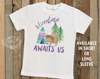 Adventure Awaits Us Kids Shirt, Woodland Animals Kids Shirt, Boho Kids Shirt, Cute Kids Tee, Boho Kids Clothes, Bear Kids Shirt - T172A