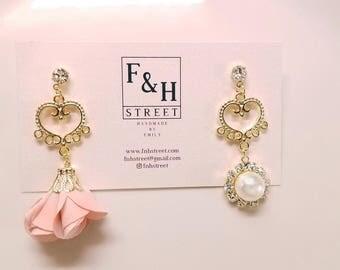 Gold Heart Pink Pearl Tassel Earrings