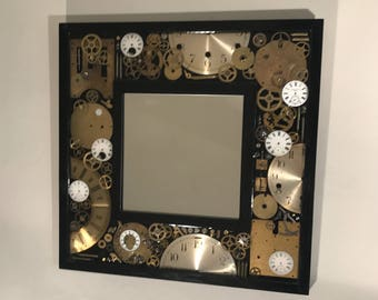 Handmade Antique Clock Parts Mirror